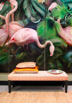 Beautiful tropical flamingo printed wall panels - a great example of 2 of our top 10 interior design trends for art deco and unusual wall coverings. I love this mural; the pale pink and lush green work so well together and it adds such drama and imp Interior Tropical, Tropical Decor, Tropical Style, Tropical Paradise, Botanical Interior, Estilo Tropical, Flamingo Print, Pink Flamingos, Flamingo Hotel