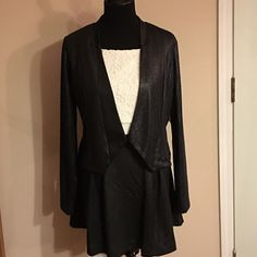 Gorgeous Skirt, Top & Jacket Combo Shimmery black and a gorgeous white crop top spaghetti strap tank top. Brand new! Never worn! Beautiful. BONGO Other