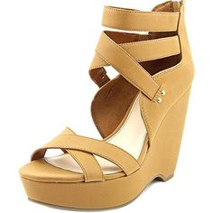 Bar III Samara Women Open Toe Synthetic Wedge Sandal Dark Tan Size 65 *** Find out more by clicking the VISIT button