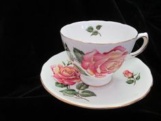 Crown Royal Bone China Cup and Saucer Made om England Large Roses