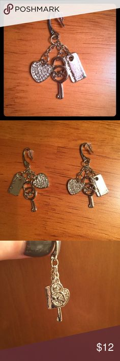 MK Fashion Earrings MK Fashion Earrings in Silver with rhinestone accents. Brand new & never worn. Nickel free. All stones intact. Price reflects authenticity.   Smoke free home. Fast shipping. 💕 Michael Kors Jewelry Earrings