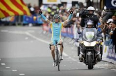 Maxim Iglinskiy (Astana) celebrates a surprise win in Liege on his Specialized Tarmac!