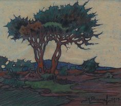 JH Pierneef - Thorny Evening Mural Painting, Artist Painting, Paintings, South African Artists, Easy Watercolor, Old Master, Landscape Art, Vintage Prints, Impressionist