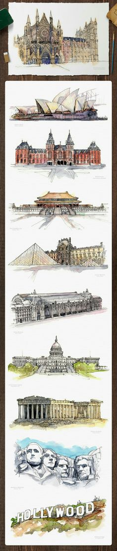 beautifully stylized paintings of iconic buildings Watercolor Architecture, Architecture Drawings, Art Aquarelle, Watercolor Paintings, Watercolour, Painting Art, Art Sketches, Art Drawings, Urban Sketching