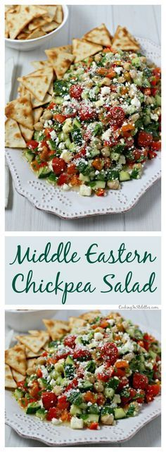 Looking for a fabulous salad - make this chic and delicious Middle Eastern Chickpea Salad from CookingInStilettos.com with protein-packed chickpeas and fresh veggies that are tossed in a lemon basil vinaigrette. This easy salad can be served as a side dish, main entree or even nestled in pita bread for the perfect lunch on the go | @CookInStilettos Salad With Protein, High Protein Salads, High Protein Vegetarian Meals, Easy Vegetarian Appetizers, High Protein Snacks On The Go, Salad Recipes Healthy Vegetarian, Vegan Snacks On The Go, Veggie Appetizers, High Protein Vegetarian Recipes