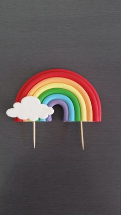 1 x Rainbow Cake Topper, cake decoration, Edible Fondant Rainbow Cake Topper by ToppedAU on Etsy www Wedding Cake Designs, Wedding Cake Toppers, Wedding Cakes, Fondant Rainbow, Rainbow Cakes, Bolo Fack, Rainbow First Birthday, Soy Products, Colorful Cakes