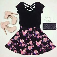 Teen fashion at it's finest ; Pink Fashion, Teen Fashion, Fashion Outfits, Fashion Heels, Dress Fashion, Skirt Outfits, Cute Outfits, Heels Outfits, Outfits For Teens