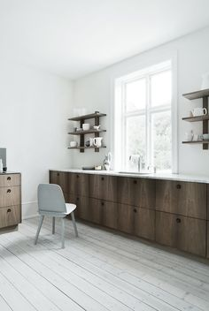 Through the Lens of | Heidi Lerkenfeldt - PERFECT. White walls & floor, upper shelving.