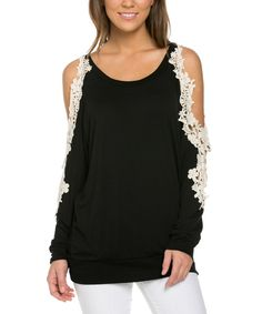 Look at this Black & White Lace-Cutout Top on #zulily today!