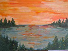 oil painting 12x12  inch orange sunset over the lake. by cheerlart