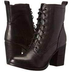 Steve Madden Lauuren Women's Dress Lace-up Boots ($130) ❤ liked on Polyvore featuring shoes, boots, ankle booties, heels, ankle boots, black, short black boots, high heel boots, lace up high heel booties and lace up ankle boots
