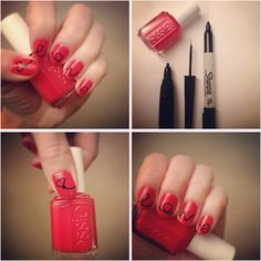 Lyndar the Merciless: Manicure Monday: Valentine's nails for you to try at home....just use a sharpie for the art and cover with top coat