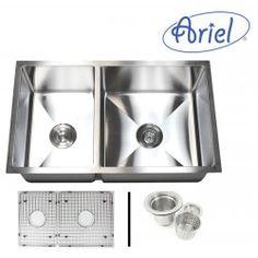 32 Inch Stainless Steel Undermount 40/60 Double Bowl Kitchen Sink 15mm Radius Design 16 Gauge with Free Accessories