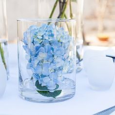 Hydrangeas are a stunning addition to any event; this bundle includes 12 stems of hydrangea, and 1 set of 12 cylinder pillar vases in the size of your cho Submerged Centerpiece, Blue Hydrangea Centerpieces, Water Centerpieces, Pumpkin Centerpieces, Wedding Centerpieces, Wedding Decorations, Centerpiece Ideas, Wedding Tables, Blue Candles