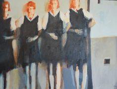 Caroline Yates 'Four redheads' Oil on canvas