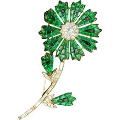 TRIFARI 'Alfred Philippe' Invisibly Set Emerald and Diamante Flower Pin