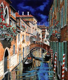 Venice Painting - Inchiostro Su Venezia by Guido Borelli Scenary Paintings, Old Paintings, Colorful Paintings, Beautiful Paintings, Beautiful Images, Modern Paintings, Venice Painting, Thing 1, Italian Painters