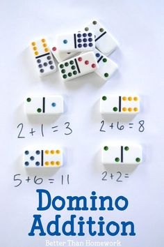 Domino addition is a fun and simple math activity to at home to practice adding. Domino addition is a fun and simple math activity that is fun for home and the classroom. It's a hands-on math activity that makes addition fun. Kindergarten Math Activities, Homeschool Math, Preschool Learning, Math Resources, Teaching Math, Online Homeschooling, Baby Activities, Learning Games, Home Teaching