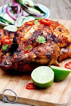 Indian-Spiced Roast Chicken 1 cup plain yoghurt 3 tbsp curry paste (Korma paste) 2 tbsp garam masala 2 tsp salt juice of  2 limes (or lemons) 1 tsp sugar