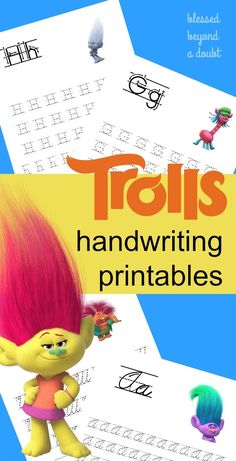 Print these free Trolls handwriting sets today. They come in print and cursive editions. Super cute!