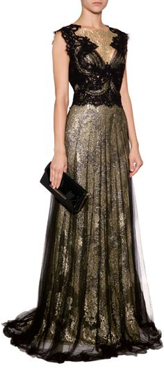 Fit for a princess in shimmering gold lace, Marchesa's floor-length evening gown is an exquisite choice for your most special events #Stylebop