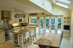Perfect new kitchen/diner layout Kitchen Layout Plans, Open Plan Kitchen, Country Kitchen, Narrow Kitchen, Kitchen Tops, New Kitchen, Kitchen Decor, Kitchen Ideas, Kitchen Designs