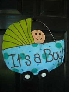Burlap Baby Boy Door Hanger