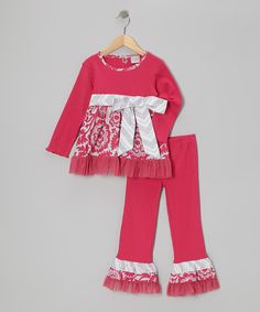 Pink & Gray Bell Tunic & Ruffle Pants - Infant, Toddler & Girls