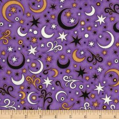 A Haunting We Will Go Stars Purple from Designed by Dan Morris for RJR Fabrics, this cotton print fabric is perfect for quilting, apparel and home decor accents. Colors include black, orange and white on a purple background. Dan Morris, Halloween Fabric, Purple Backgrounds, Accent Decor, Fabric Design, Printing On Fabric, Sewing Projects, Kids Rugs, Quilts