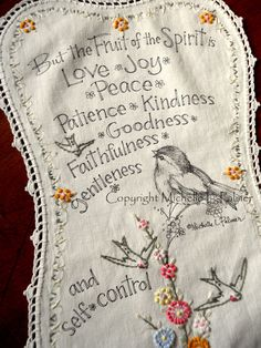 Original Pen and Ink Illustration on Antique Vintage Linen Embroidery Michelle Palmer Sparrow Fruit of the Spirit August 2015