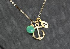 Gold Anchor Necklace,Gemstone Personalized Anchor Necklace Monogram, Nautical Theme Gift, Wedding Jewelry, Bridesmaid Jewelry. $36.00, via Etsy.
