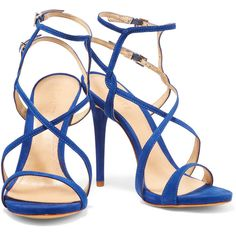 Schutz Maggy nubuck sandals (185 NZD) ❤ liked on Polyvore featuring shoes, sandals, ankle wrap shoes, buckle shoes, cobalt blue sandals, buckle sandals and high heel ankle strap shoes