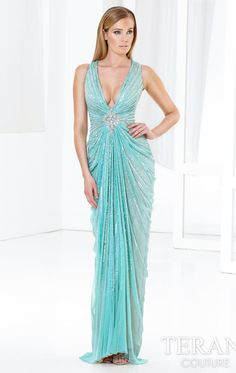 Embellished Plunging V Neckline Gown by Terani E3798 by Terani Couture Evening