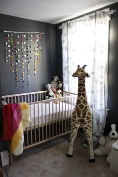 "Cute shared room - IKEA crib, DIY ""mobile"" and book ledges. Guitar Nursery, Ikea Crib, Ikea Kids Room, Kids Rooms, Nursery Decor, Nursery Ideas, Room Ideas, Nursery Boy, Nursery Inspiration"
