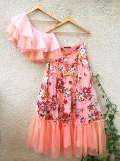 Peach One Shoulder Ruffle Top & Floral Lehenga Shrena hirawat