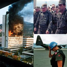The executive council building burns after being hit by artillery fire in Sarajevo May 1992; Ratko Mladić with Army of Republika Srpska soldiers; a Norwegian UN soldier in Sarajevo.