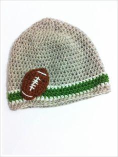Crochet Beanie Hat Boy Football Beanie by LittleMommaBoutique, $22.50
