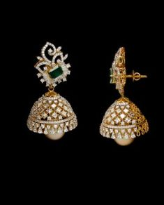 Diamond Jumkas, Diamond Earing, Diamond Jewelry, Gold Jewelry, Jewelery, Gold Jhumka Earrings, Gold Earrings Designs, Necklace Designs, Jewellery Sketches