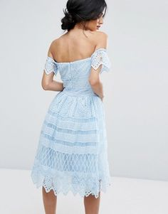 Chi Chi London ~ ~ Off-the- Shoulder Midi Dress In Paneled Lace in BLUE with short puff sleeves. Lined crochet lace, tulled underlay. ||| us.asos.com/chi-chi-london/chi-chi-london-off-shoulder-midi-dress-in-paneled-lace |||