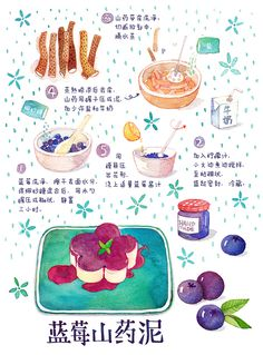 Dessert Notebook on Behance Menu Illustration, Food Illustrations, Blueberry Pastry Recipe, Recipe Drawing, Food Doodles, Food Sketch, Cute Animal Drawings Kawaii, Watercolor Food, How To Make Drawing