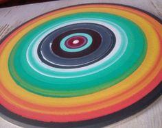 Boom ringen schilderijen, abstracte muur kunst, Acryl schilderij, houten cirkels, veelkleurige kunst, cadeau-ideeën, houten strepen rondes Reclaimed Hout