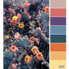 Flower garden, yellow, emerald green, orange, pink, multi color palette , purple, blue