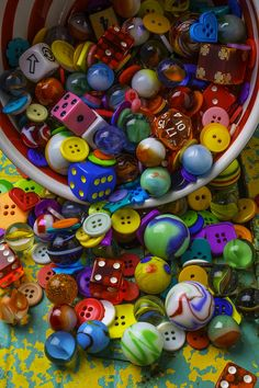 colors.quenalbertini: Jars Buttons Photograph - Bowl Spilling Marbles Buttons and Dice by Garry Gay | Fine Art America
