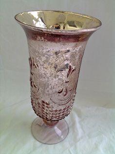 Pink Mercury Glass Hurricane Vase ~ ♥ #glass #antiques
