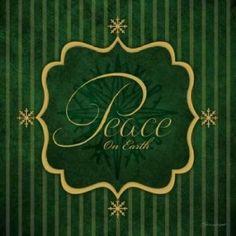 Posterazzi Peace - Green and Gold Canvas Art - Stephanie Marrott (24 x 24)