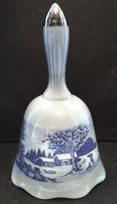 Currier & Ives Porcelain Bell, Blue Ceramic, Winter Scene Landscape by Snowyowltreasures on Etsy