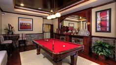 This Pool Table Looks Almost identical to Ours ~ I Love the Red Felt!