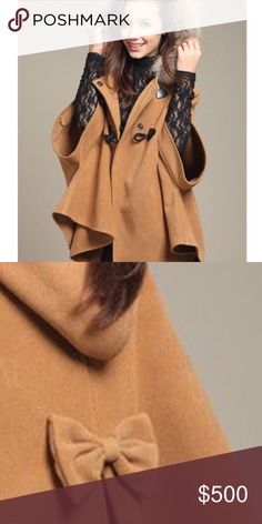 Coming Soon! Faux Fur Hooded Cloak/cape So cute! Faux fur hooded cloak/cape with bow at back and toggle closure. Perfect for fall! Like to be notified of its arrival! Brand new boutique item, only one available though, should go quick! Jackets & Coats Capes