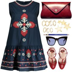 Red and blue by simona-altobelli on Polyvore featuring Gucci, Kenneth Jay Lane, Pared, Clarins, StreetStyle, MyStyle, minidress and redandblue