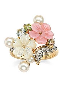 Pearl, Blue Topaz and Peridot Ring by Palm Beach Jewelry.